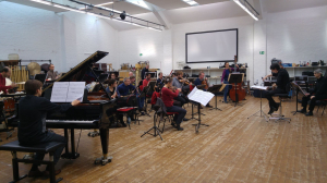 rehearsing with Klangforum Wien and Alberto Posadas